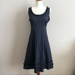 Tory Burch Navy Ruffle Cotton Dress 10
